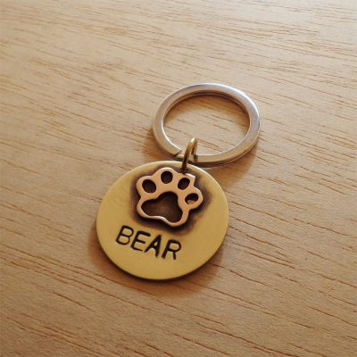 Personalized 3D Brown Dog Paw Dog Collar ID