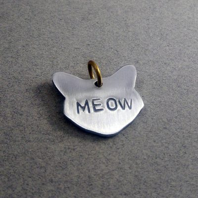 Personalized Silver Cat Face Cat Collar ID